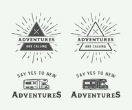Set of vintage camping outdoor and adventure logos, badges. Labels, emblems, marks and design elements. Monochrome graphic Art. Vector Illustration Royalty Free Stock Photos