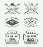 Set of vintage camping outdoor and adventure logos, badges. Labels, emblems, marks and design elements. Vector illustration. Monochrome Graphic Art Stock Images