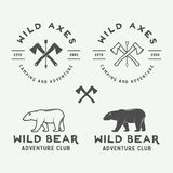 Set of vintage camping outdoor and adventure logos, badges Royalty Free Stock Image