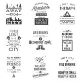 Set of vintage camping typographic quotes Stock Photos