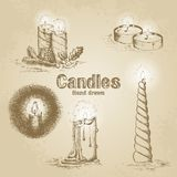 Set of vintage candle. Hand drawn illustration Stock Image