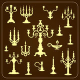 Set of vintage candlesticks. openwork metal plastic. Eps 10 Vector Illustration