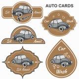 Set of vintage car cards Stock Images