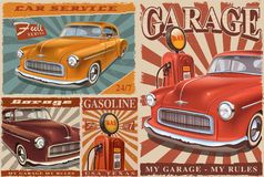 Set of Vintage Car Posters. Set of vintage car metal signs, retro posters with classic car, garage, gas station royalty free illustration
