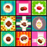 Set of vintage card with candy. Retro style Royalty Free Stock Image