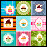 Set of vintage card with cupcakes. In retro syle Royalty Free Stock Images