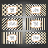 Set of 6 vintage card templates in gold, black and white colors royalty free illustration
