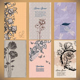 set of vintage cards with flowers backgrounds Stock Photography