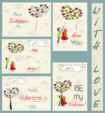 Set of vintage cards about love. Stock Photos