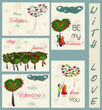 Set of vintage cards about love. Vector illustration EPS10 Stock Illustration
