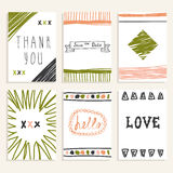 Set of vintage cards with romantic hand drawn textures. Collecti Royalty Free Stock Images