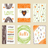 Set of vintage cards with romantic hand drawn textures. Collecti. On of cute, trendy greeting cards. Collection of brochures, posters, flyers, placards, and Stock Images