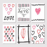 Set of vintage cards with romantic hand drawn textures. Creative Royalty Free Stock Photos