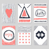Set of vintage cards with romantic hand drawn textures. Creative. Cards with love theme design. Collection of cute postcards. Vector illustration Stock Photo