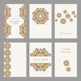 Set of vintage cards  templates editable. Set of vintage cards templates with floral motifs. Wedding invitation сard, thank you card, save the date cards Royalty Free Stock Image