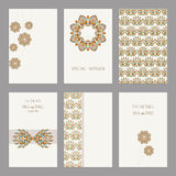 Set of vintage cards  templates editable. Set of vintage cards templates with floral motifs. Wedding invitation сard, thank you card, save the date cards Stock Photos
