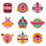 Set Of Vintage Carnival Badges and Labels. Stock Photo