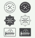 Set of vintage carpentry labels, emblems, badges and logo Stock Photo