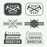 Set of vintage carpentry labels, emblems and logo stock illustration