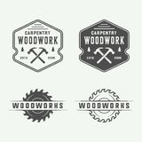 Set of vintage carpentry, woodwork and mechanic labels, badges,. Emblems and logo. Vector illustration. Monochrome Graphic Art vector illustration