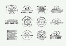 Set of vintage carpentry, woodwork and mechanic labels, badges, emblems and logo. Vector illustration. Monochrome Graphic Art vector illustration