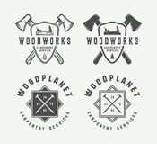 Set of vintage carpentry, woodwork and mechanic labels, badges. Emblems and logo. Vector illustration. Monochrome Graphic Art stock illustration