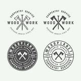 Set of vintage carpentry, woodwork and mechanic labels, badges, royalty free illustration