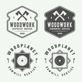 Set of vintage carpentry, woodwork and mechanic labels, badges, vector illustration