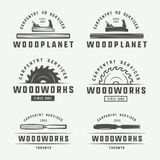 Set of vintage carpentry, woodwork and mechanic labels, badges, stock illustration