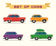 Set with vintage cars, flat style Stock Image