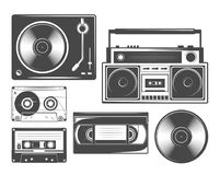 Set of vintage cassete, vinyl, recorders and players icons. And illustrations Royalty Free Stock Images