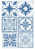 Set of vintage ceramic tiles in azulejo design with blue patterns on white background, traditional Spain and Portugal pottery. Vector eps10 Royalty Free Stock Image