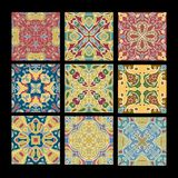 Set of vintage ceramic tiles in azulejo design with multicolored patterns on black background, traditional Spain and royalty free illustration