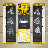 Set of vintage chalk drawing fast food menu banners. Pizza Stock Photo