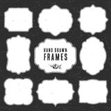 Set of vintage chalk frames and labels. Hand drawn vector royalty free illustration