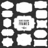 Set of vintage chalk frames and labels. Royalty Free Stock Photography