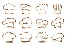 Set of vintage chef and cook hats royalty free stock photos