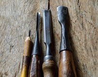 Set of vintage chisels. Isolated over Royalty Free Stock Photography