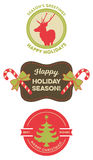 Set of Vintage Christmas Badges. Xmas badges with vintage style. They read Season's Greetings, Happy Holidays, Happy Holiday Season!, Best Wishes and Merry Royalty Free Stock Images