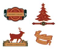 Set of Vintage Christmas Emblems. Retro styled banners and cards that read Best Wishes, Merry Christmas and Have a Merry Xmas Stock Photos