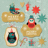 Set of Vintage Christmas and New Year elements. With cute owls Stock Images