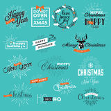 Set of vintage Christmas and New Year's labels and elements Stock Photo