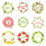 Set of Vintage Christmas and New Year Wreath Royalty Free Stock Photos