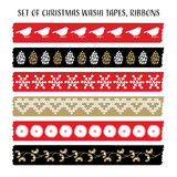 Set of vintage Christmas washi tapes, ribbons with birds, pine cones, mistletoe. Vector elements, cute patterns. Stock Photo