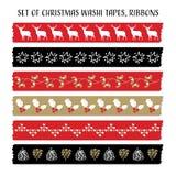 Set of vintage Christmas washi tapes Royalty Free Stock Images