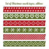 Set of vintage christmas washi tapes,  Stock Photo