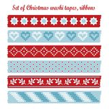 Set of vintage christmas washi tapes, ribbons, el royalty free illustration