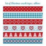 Set of vintage christmas washi tapes, ribbons,  patterns Stock Images
