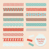 Set of vintage christmas washi tapes, ribbons, vector elements, cute design patterns Royalty Free Stock Images