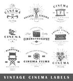 Set of vintage cinema labels. Posters, stamps, banners and design elements. Vector illustration Stock Images